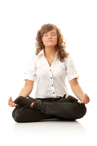woman meditating and deep breathing