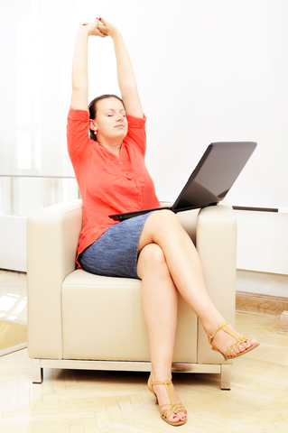 businesswoman stretching in relaxation