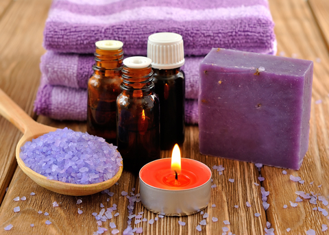 candle and essential oils